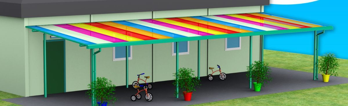 Multicoloured Roof School Shelter