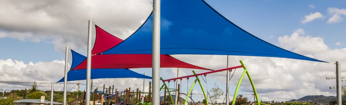 Blue and Red Fabric Shade Sails